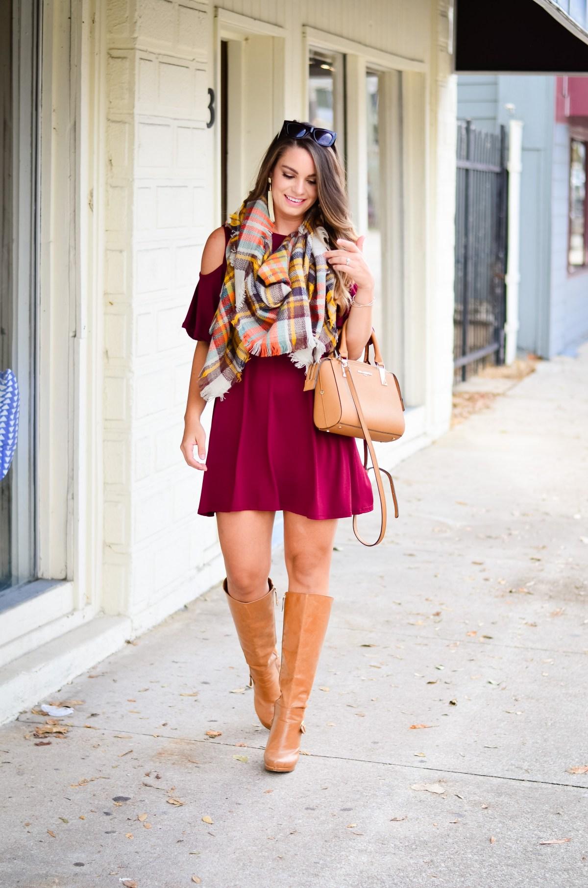 maroon-dress-blanket-scarf-goldfinch-4