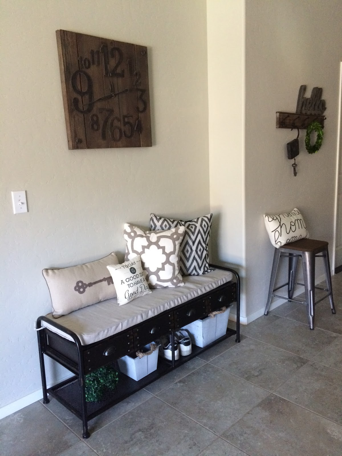 Entryway makeover industrial bench hello allison for Modern farmhouse mudroom