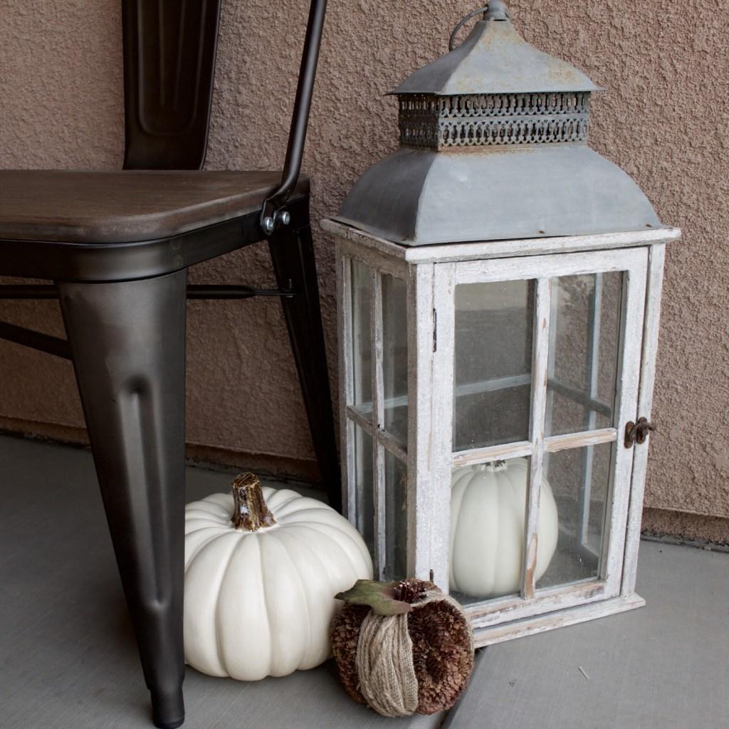 Fall Porch - neutral fall decor with white pumpkins & corn stalks!