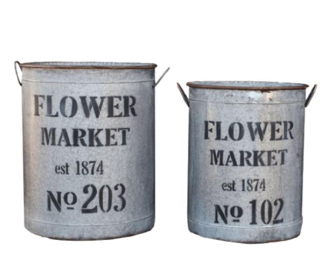 farmhouse flower buckets