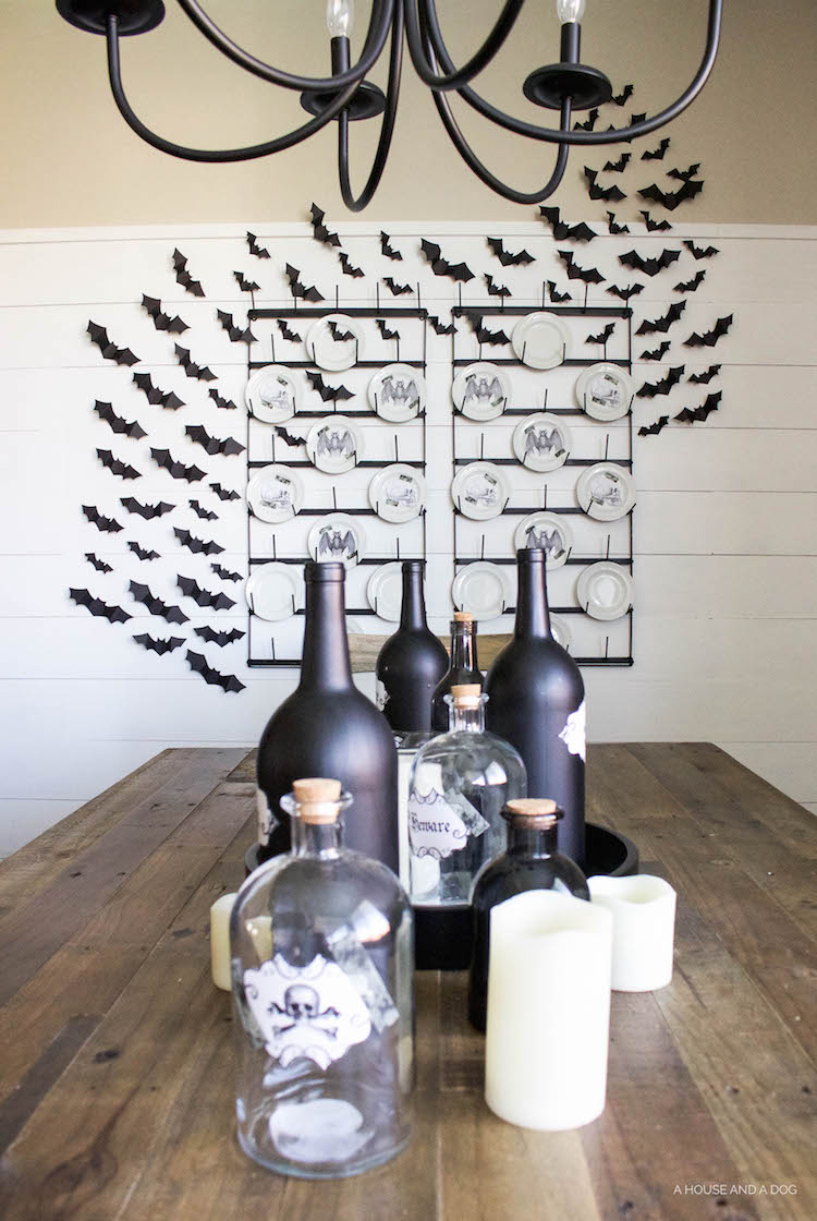DIY Halloween Apothecary Jars and Tablescape | helloallisonblog.com