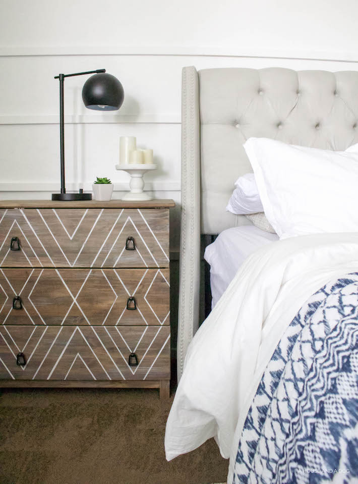 Blue & White Bedroom - DIY Horizontal Board & Batten Wall, DIY Painted Headboard & Bench, DIY Ikea Tarva Hack | One Room Challenge | helloallisonblog.com