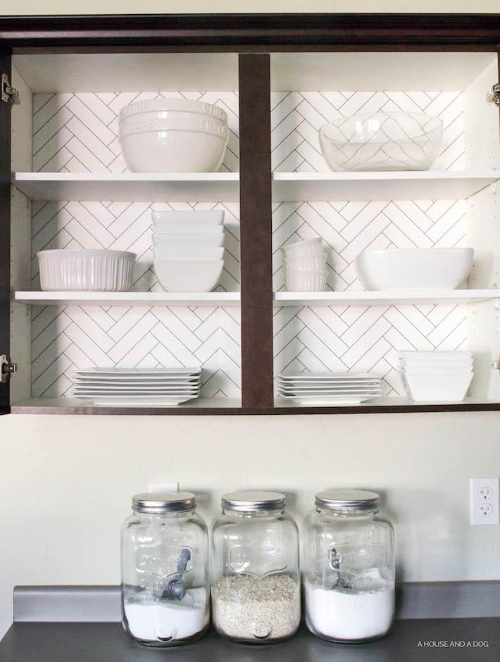 Kitchen Cabinet Wallpaper U0026 Upgrading Builder Cabinets |  Helloallisonblog.com