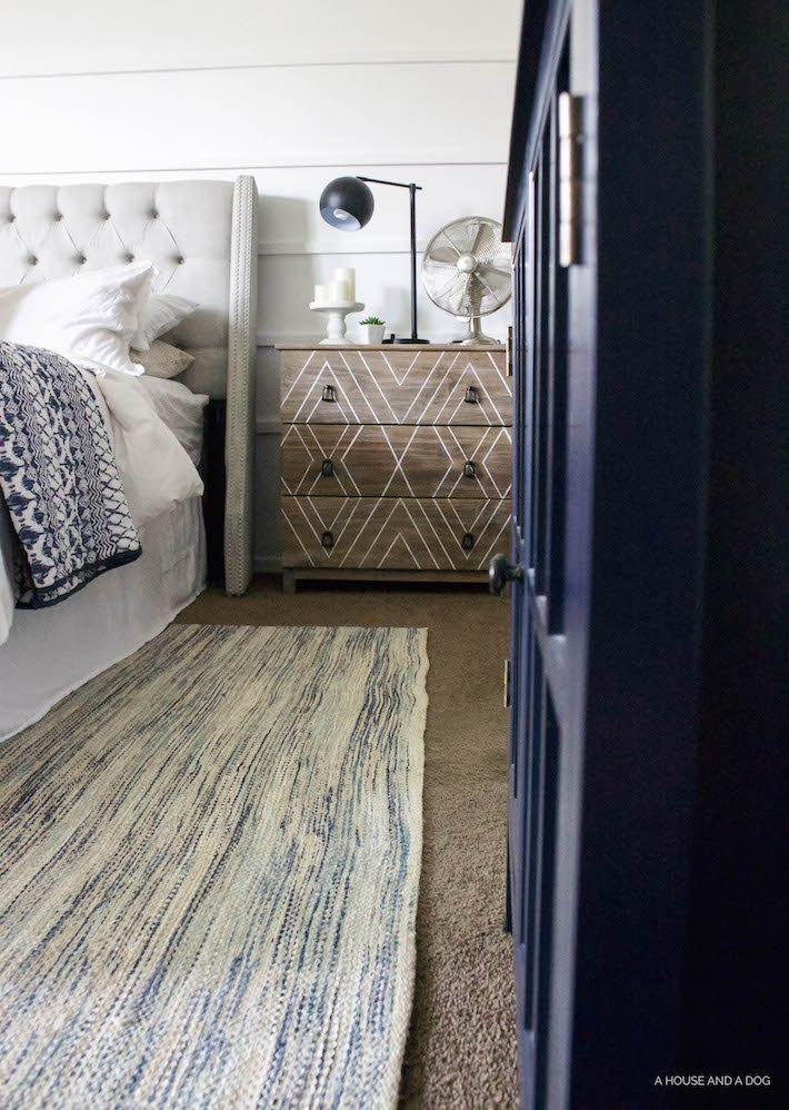 Blue & White Bedroom - DIY Horizontal Board & Batten Wall, DIY Painted Headboard & Bench, DIY Ikea Tarva Hack | One Room Challenge | helloallisonblog.com