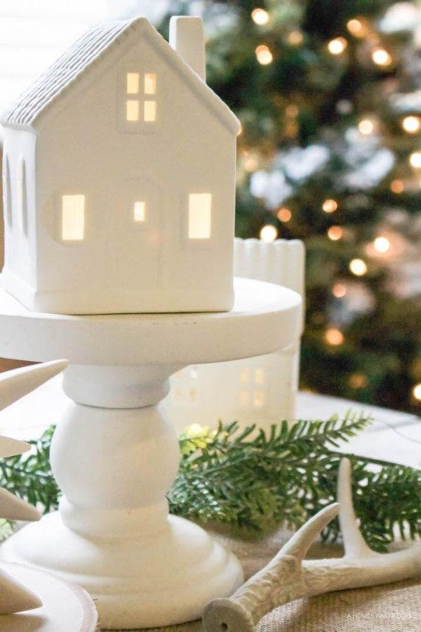 Winter Wonderland Christmas Village Tablescape | helloallisonblog.com