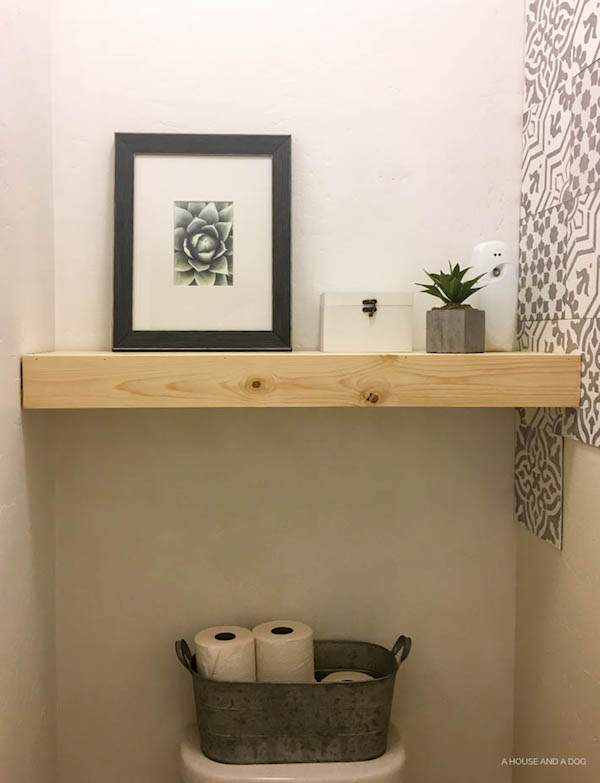 One Room Challenge - Master Bathroom: Week 2 - DIY Floating Shelf