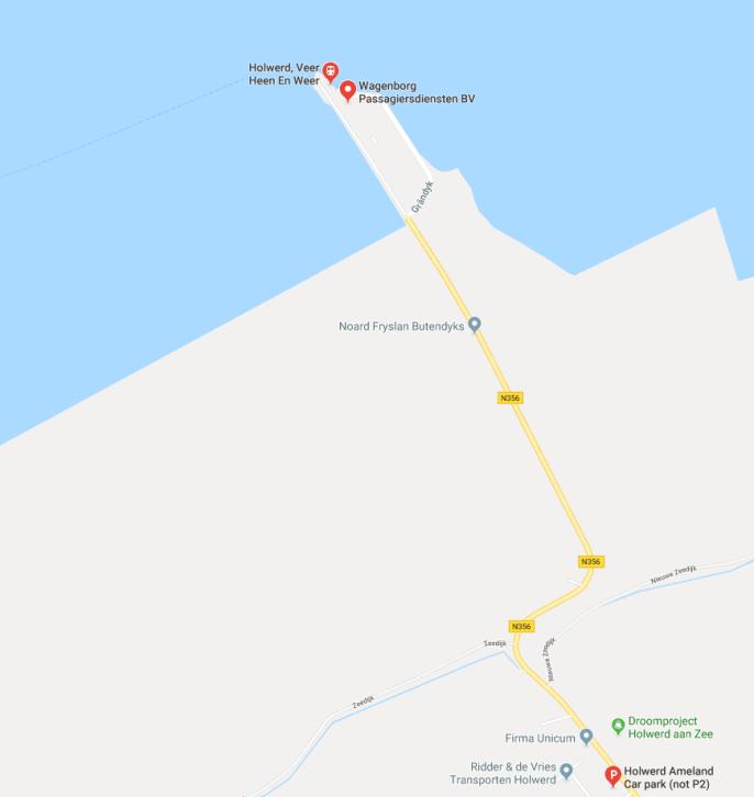 Parkeren boot Ameland Holwerd