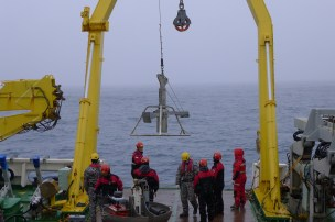 Box core as it is lowered to the seafloor