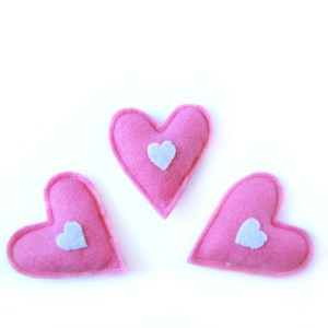pink heart cat toy
