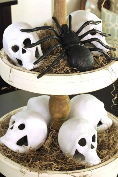 Cheap Halloween decorations-skulls, spiders, moss