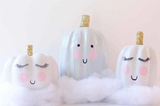 DIY Cloud Inspired Pumpkins paint, glitter, and cuteness