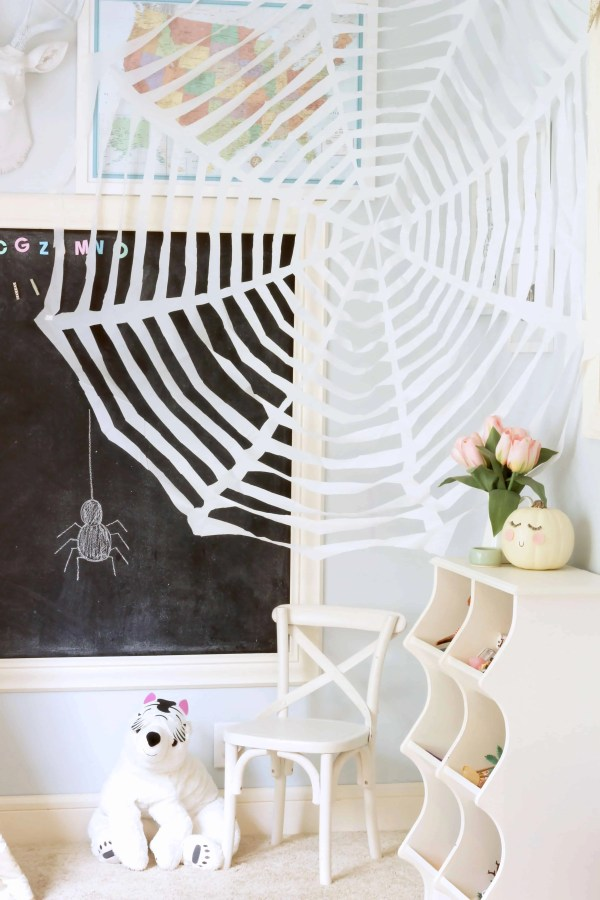 DIY Dollar Store Shower Curtain Spider Web