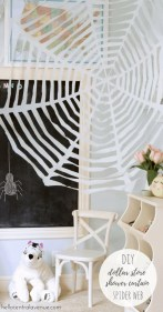 DIY-Dollar Store Shower Curtain Spider Web