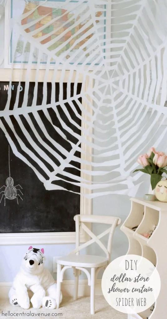 DIY-Dollar Store Shower Curtain Spider Web