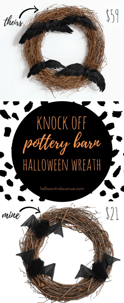 Knock-off Pottery Barn Halloween Wreath