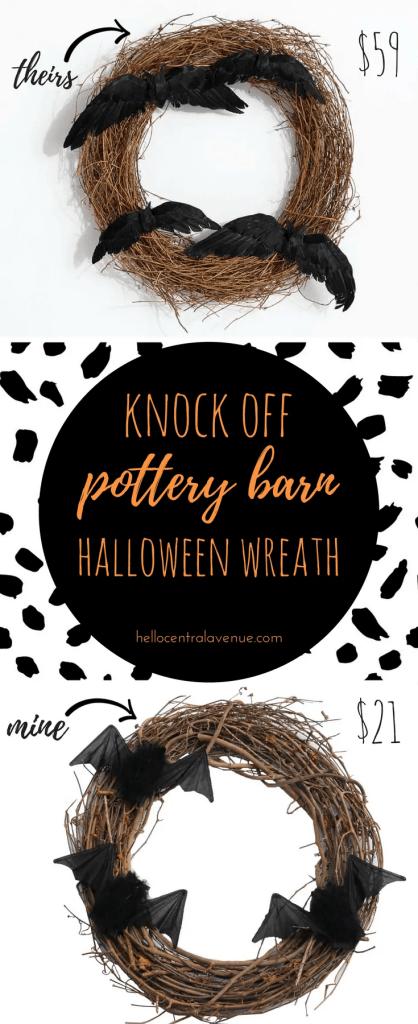Knock-off Pottery Barn Halloween Wreath