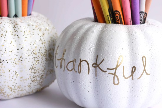 DIY Pumpkin Crayon Holder perfect for Thanksgiving kids table