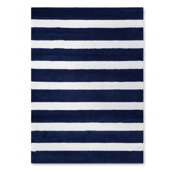 Pillowfort rugby stripe area rug