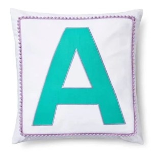 Pillowfort pom pom monogram pillow cover