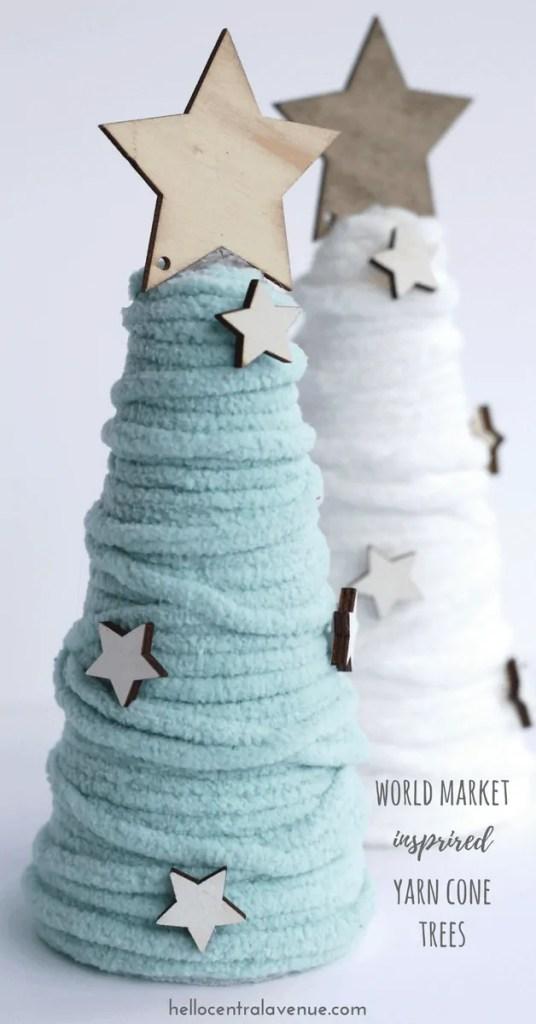 World Market Inspired Yarn Cone Trees