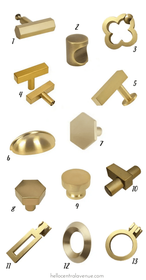 Gorgeous affordable brass hardware to update any piece of furniture!