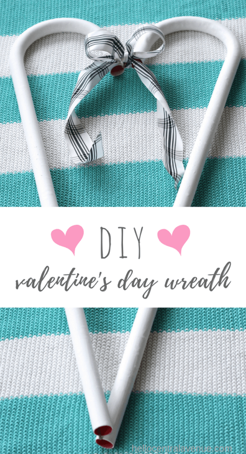 Quick and easy Valentine's Day wreath made from large candy canes.