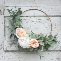 DIY an easy spring hoop wreath for above your changing table