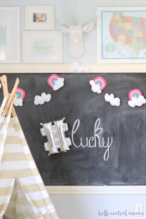 Hang up this cheerful rainbow and cloud garland for St. Patrick's Day. It's a quick and easy project!