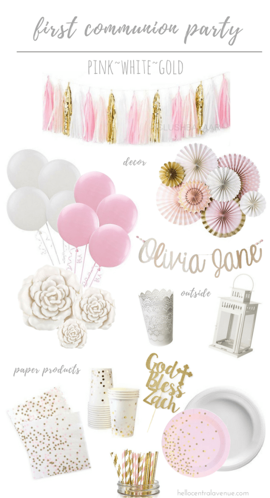 A Pink, White, & Gold First Communion Party Vision Board
