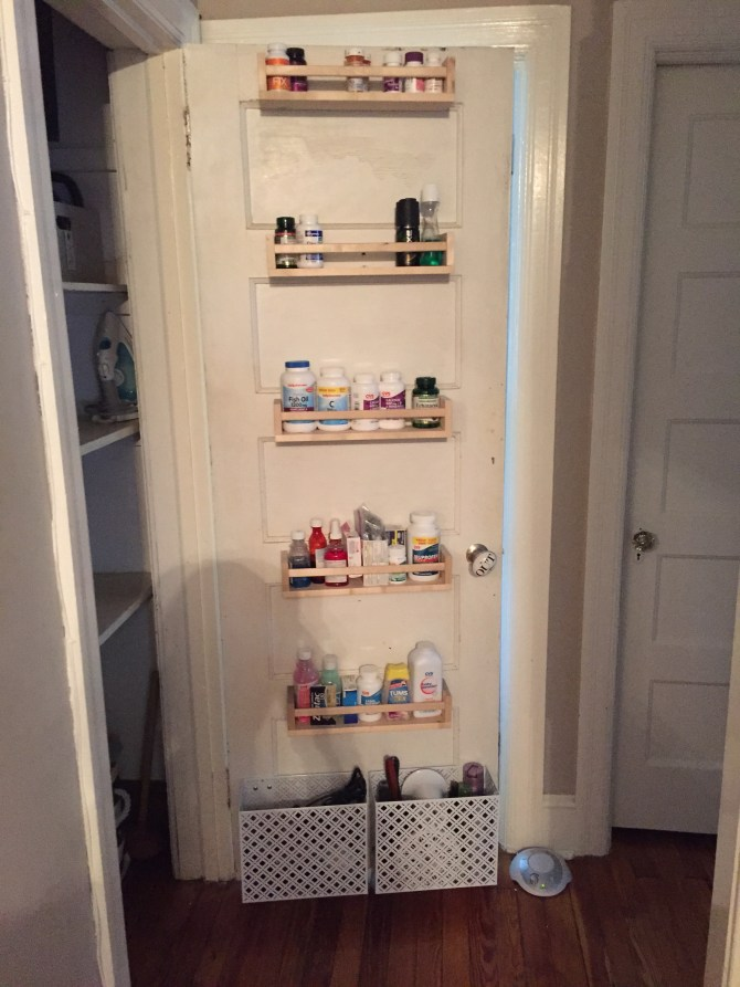 If your house has small closets and bathrooms like mine does, this Ikea Bekvam spice rack hack that I came up with will do wonders for maximizing your storage!