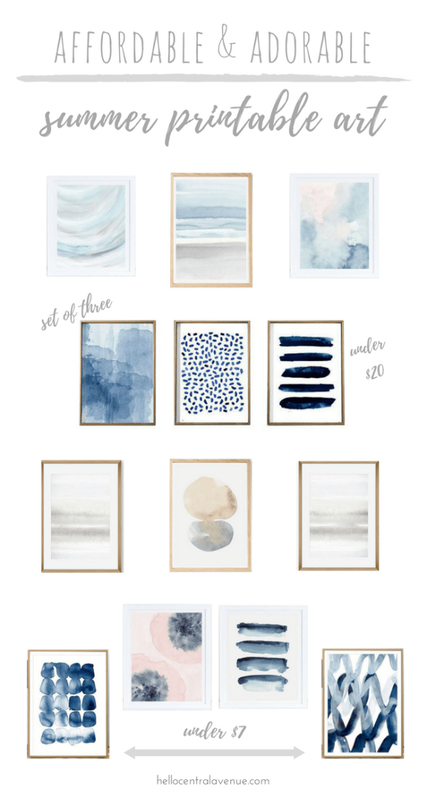These serene and inexpensive printable artwork pieces are the perfect addition to your space this summer! These calming colors and neutral compositions work with so many styles!