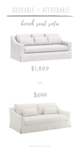 I'm always on the lookout for less expensive home decor! This week's adorable and affordable is all about saving you thousands of dollars on bench seat sofas!