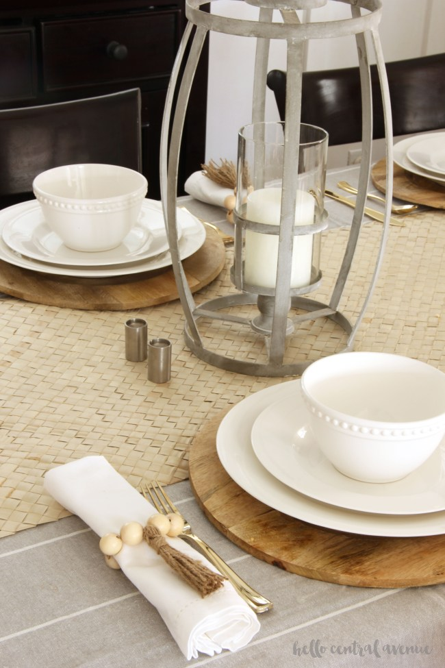 Create a timeless look for your tablescape year round by making these wooden bead napkin rings! This is an easy do it yourself project that adds style and dimension to your table top. Add the tassels to make them extra fun!