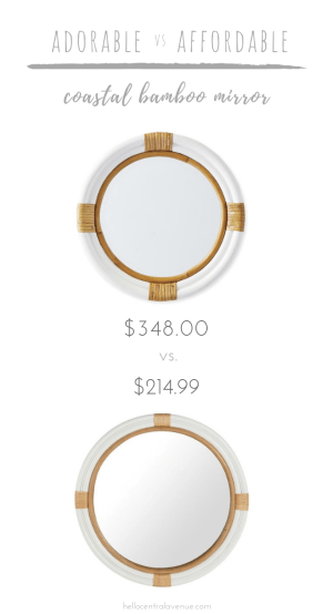 """This stunning coastal bamboo mirror is way cheaper than the """"adorable"""" mirror and looks nearly identical! This mirror would be gorgeous in a bathroom, above a console table, or anywhere inyour home! Itcreates a coastal or nautical look and mixes well with lots of styles!"""