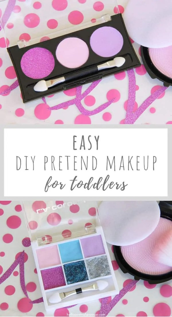 This is the DIY pretend makeup for toddlers that you have been looking for! It's super easy to make for your little girl and costs you almost nothing! You can find the supplies you need, like foam paper, glitter, and more at the Dollar Tree!