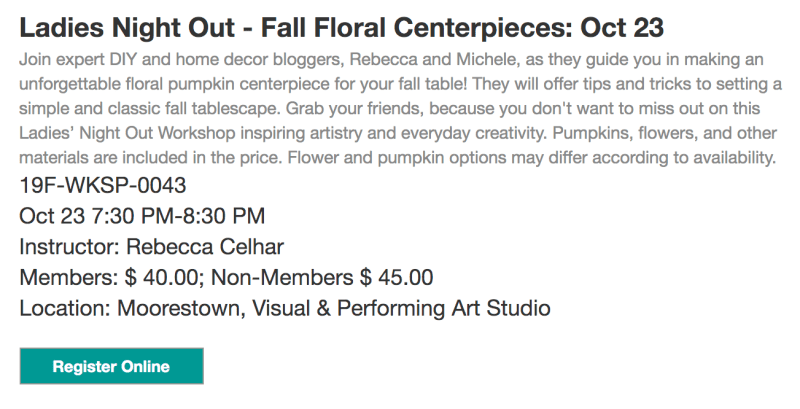 Learn to create a pumpkin floral centerpiece at Perkins Center for the Arts. All supplies included!