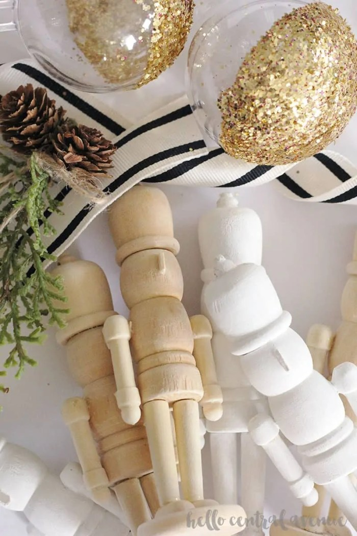 These unfinished wooden nutcracker ornaments make the cutest simple DIY Christmas decor!