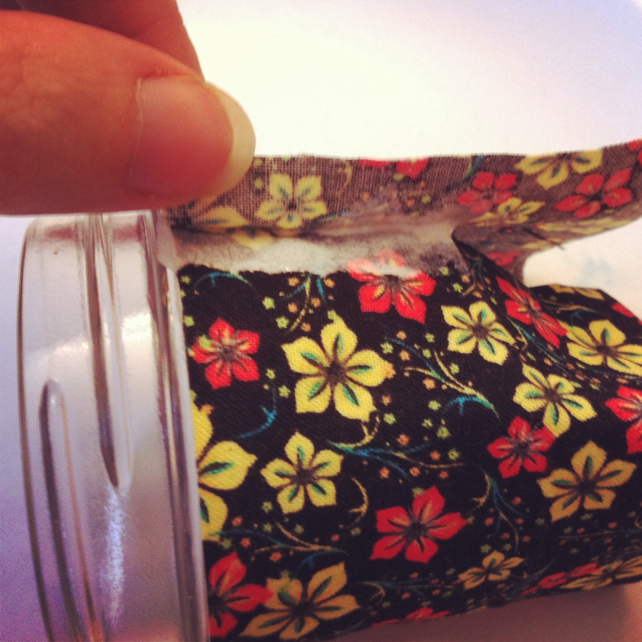 Wrap fabric around jar