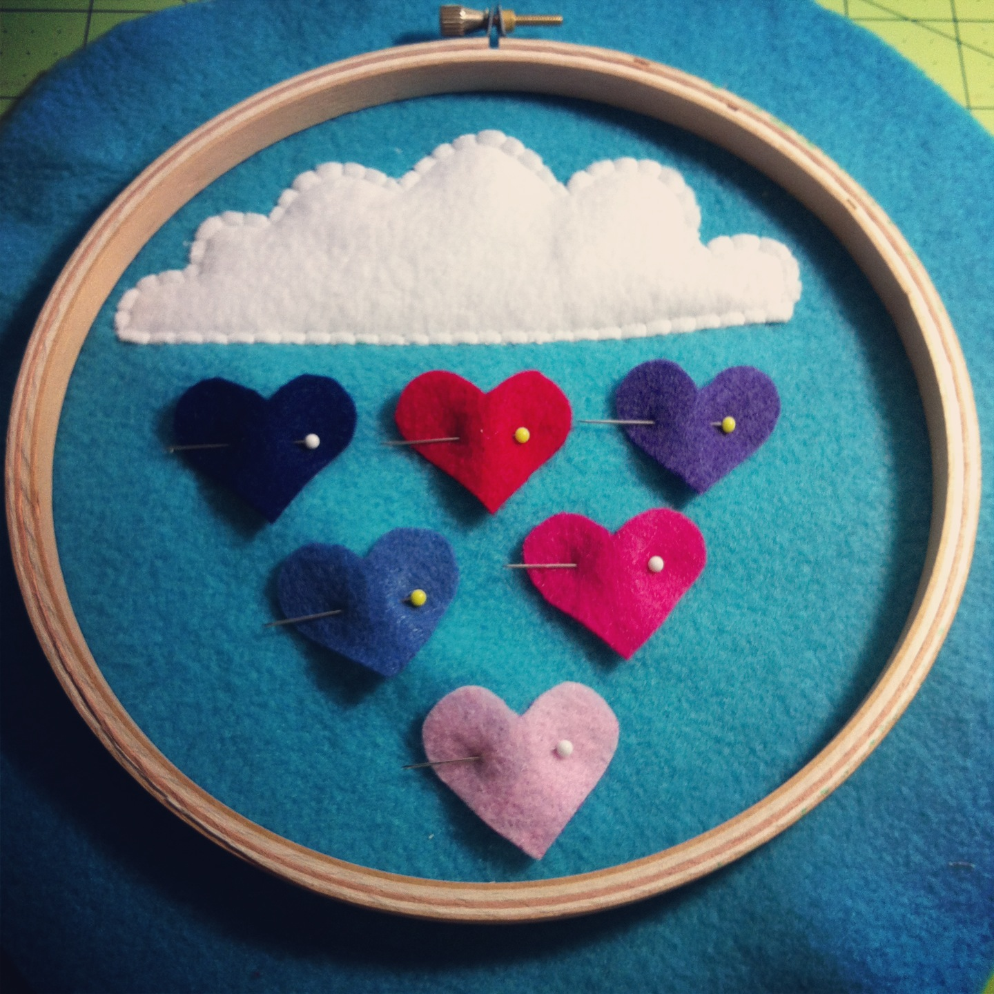 Sew Creative Blog Raining Hearts Hoop Art