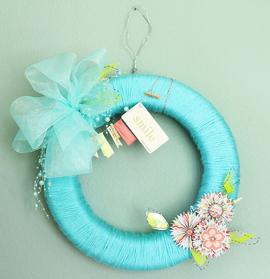 Spring Smile Yarn Wreath
