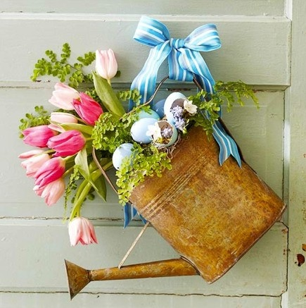 Spring Tulips Watering Can Door Decor