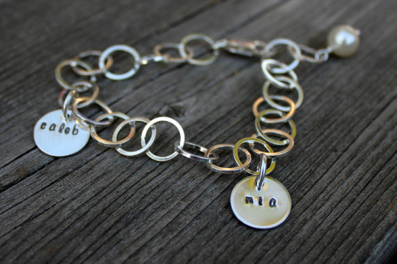 Hand Stamped bracelet Moo and The Bear