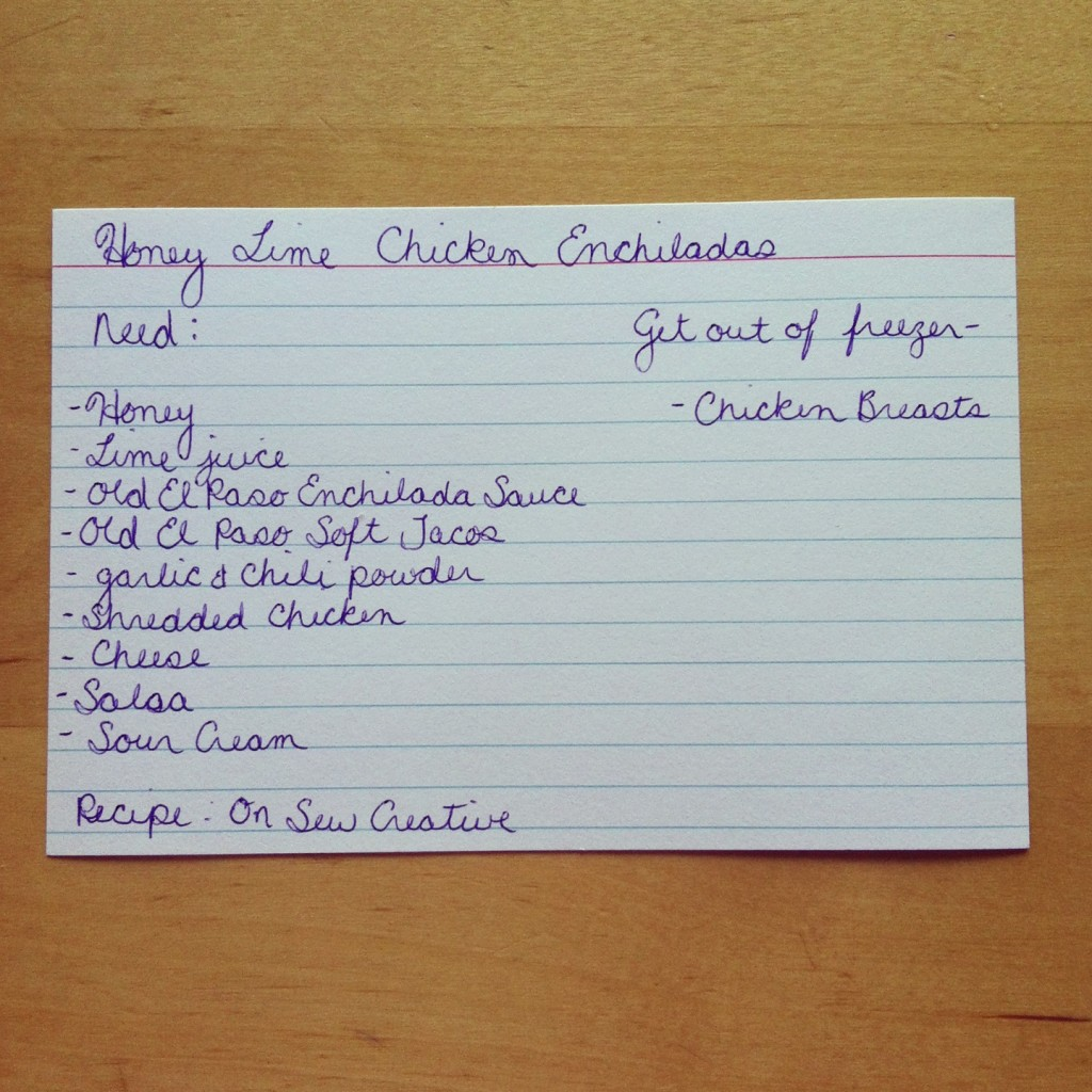 Honey Lime Chicken Enchilada Recipe Menu Planning Card from Sew Creative