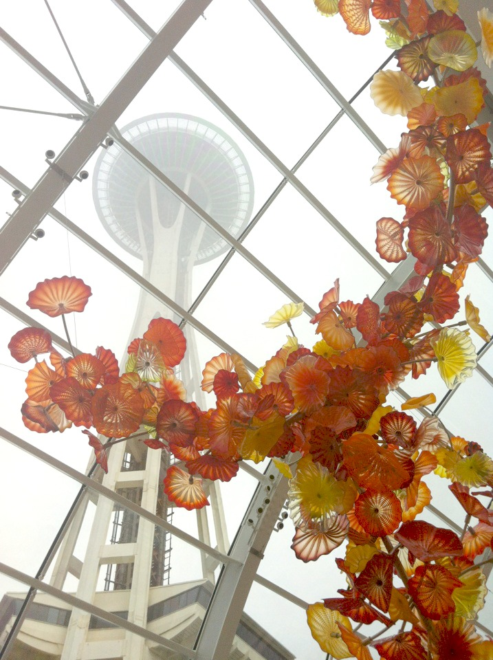 View of the Space Needle Through Dale Chilhuly's Glass House