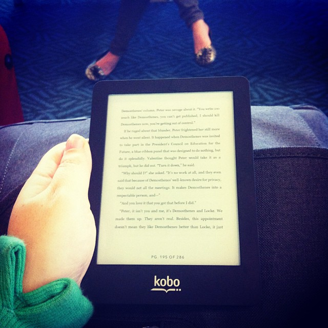 Reading on my Kobo at the airport