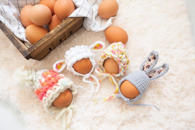 Adorable Spring and Easter Crochet Patterns Perfect For Easter Baskets: Adorable Easter Egg Cozies from 1 Dog Woof