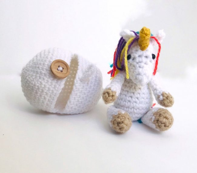 Adorable Spring and Easter Crochet Patterns Perfect For Easter Baskets: Amigurumi Unicorn and Hatching Egg Crochet Pattern from Sayens Crochet Store