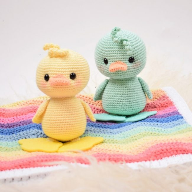 Adorable Spring and Easter Crochet Patterns Perfect For Easter Baskets: Duckling Baby Teething Toy Crochet Pattern from Hobbii