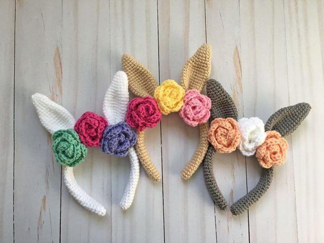 Adorable Spring and Easter Crochet Patterns Perfect For Easter Baskets: Easter Bunny Headband Crochet Pattern from Grace and Yarn