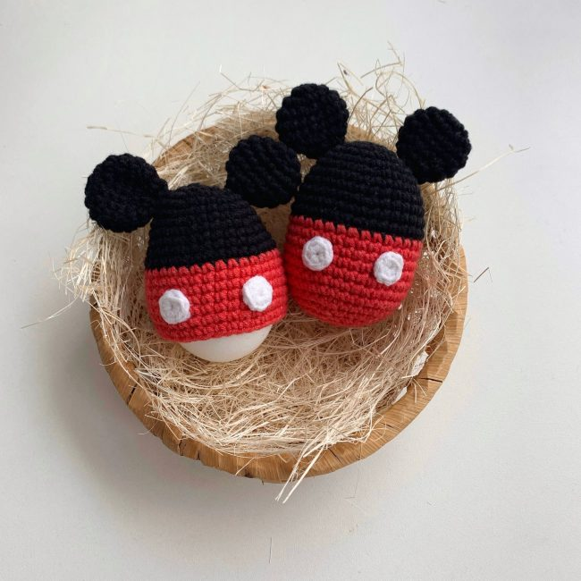 Adorable Spring and Easter Crochet Patterns Perfect For Easter Baskets: Mickey Mouse Egg Warmer Crochet Pattern from Crochet Gift By Mary